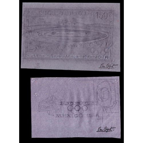 DAHOMEY 1968 Olympics Mexico 160F Stamp Artist´s Works:2 261x179mm
