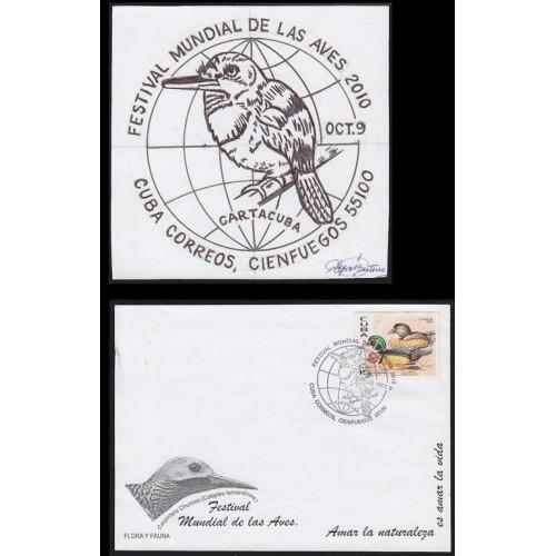 CUBA 2010 Year of the Bird circular date stamp Stamp Artist´s Work 129x129mm signatured