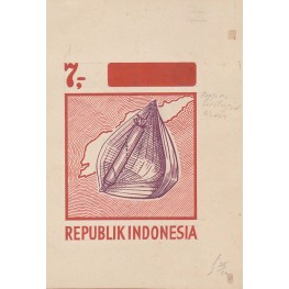 INDONESIA 1967 Local music 7.- Stamp Artist´s works signed issued 110/138mm Timor-related
