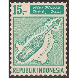 INDONESIA 1967 Local music 15.- Stamp Artist´s works signed issued 119/161mm map island