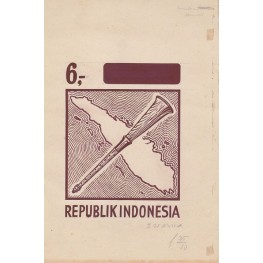 INDONESIA 1967 Local music 6.- Stamp Artist´s works signed issued 111/138mm