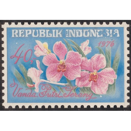 INDONESIA 1976 Flora Flowers Orchid 40.- Artist´s works signed issued 188/128mm