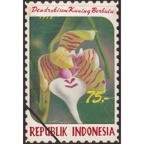 INDONESIA 1978 Laved yellow C Orchid 75.' Artist´s works signatured 128/188mm
