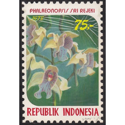 INDONESIA 1978 Larged-leaved vl.g.B Orchid 75.' Artist´s works signatured 128/188mm