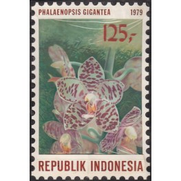 INDONESIA 1979 Flora giant leaved blurry orchid viol A 125-. Artist´s works signed 129/188mm
