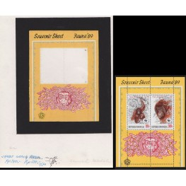 INDONESIA 1989 Animal huge mammal B WWF Stamp Artist´s works signed issued 10x12.5 cm