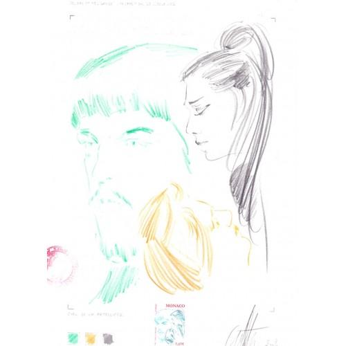 MONACO 2002 Opera Theatre Composer Claude Debussy 0.69€ Signatured Stamp Artist´s Original Motif:169/232mm