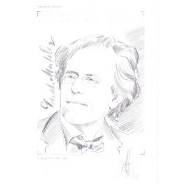 MONACO 2009 Romantic composer Gustav Mahler (blk) Signatured Stamp Artist´s Original Motif tot:169/229mm