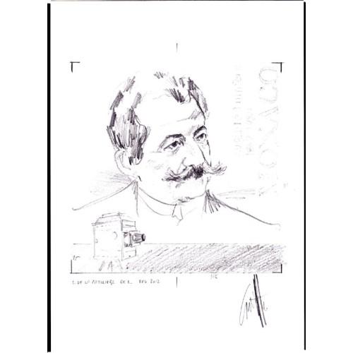 MONACO 2009 Auguste Marie Louis Nicolas Lumiere B movies writer Signatured Stamp Artist´s Original Motif tot:174/1748mm French-related