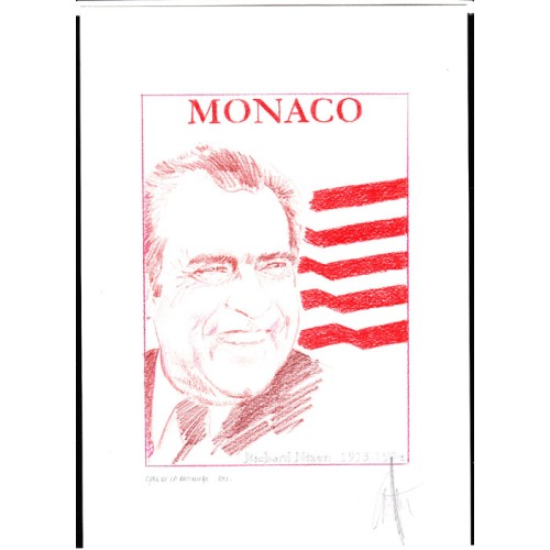 MONACO 2013 President Richard Milhous Nixon A Signatured Stamp Artist´s Original Motif tot:139/201 USA-related