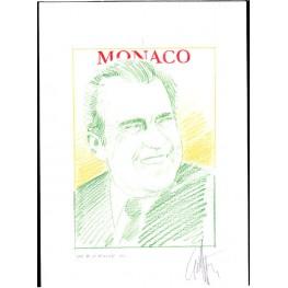 MONACO 2013 President Richard Milhous Nixon C Signatured Stamp Artist´s Original Motif tot:139/201 USA-related