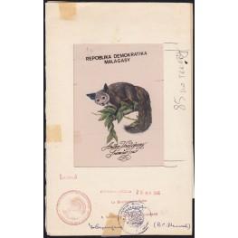 MADAGASCAR 1988 Animal B FDC Stamp Artist´s Originals 159 x 259 mmmm signatured
