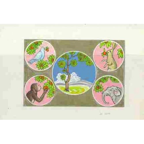 MONGOLIA 1984 Animals A. Stamp Artist´s Original pre-study 184/120mm