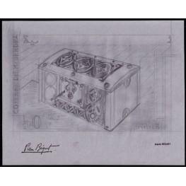 MAURITANIA 1965 Big box lock 50F Signatured Stamp Artist´s Original Motif:249/119mm