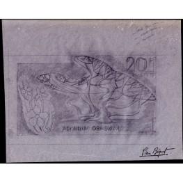 MAURITANIA 1965 Flower 20F Signatured Stamp Artist´s Original Motif:259/109mm
