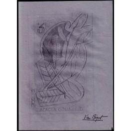 MAURITANIA 1965 Rubber plant 3f Signatured Stamp Artist´s Original Motif:189/262mm