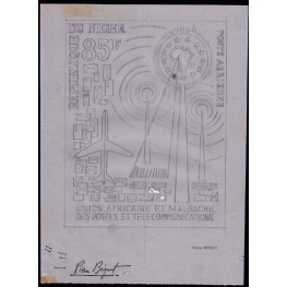 NIGER 1963 Antenna 85F Stamp Artist´s works 169/231mm