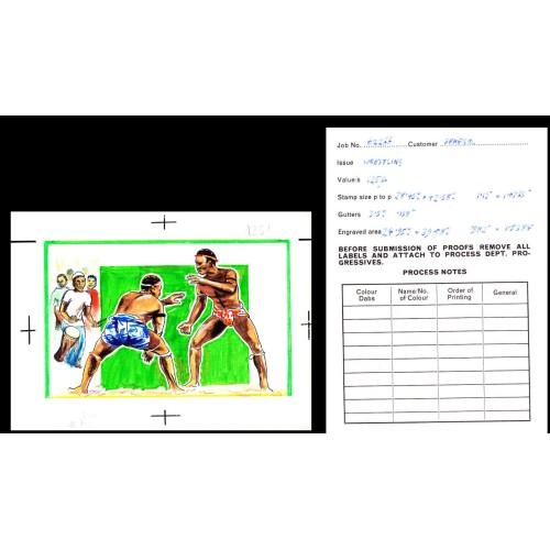 SENEGAL 1987 African style wrestling Artist´s Original issued 319/249mm