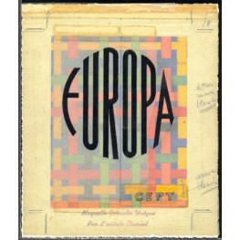 FRANCE 1972 EUROPA pattern FDC Signatured Stamp Artist´s Original Motif:162/192mm not issued