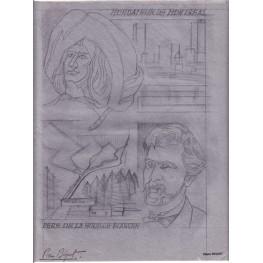 FRANCE 1972 Paul Chomedey de Maisonneuve Quebec B Signed Stamp Artist´s Original Motif:241/312mm Canada-related