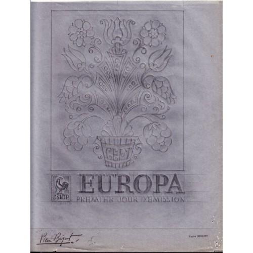 FRANCE 1982 EUROPA FDC Signed Stamp Artist´s Original 151/208mm