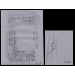 FRANCE 1986 Judaica Victor-Guillaume Basch Signed Stamp Artist´s original sketch 212/292mm
