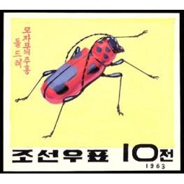 Korea DPR (North) 1963. Red big Beetle 10w D. Signed Artist Stamps Works. Size: 134/121mm KP Post Archive Mark