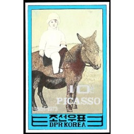 Korea DPR (North) 1982 Painting Picasso donkey Spain-related C 10j Signed Artist Stamps Works. Size: 119/189mm KP Post Archive Mark