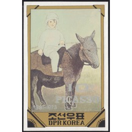 Korea DPR (North) 1982 Painting Picasso donkey Spain-related B 10j Signed Artist Stamps Works. Size: 126/181mm KP Post Archive Mark