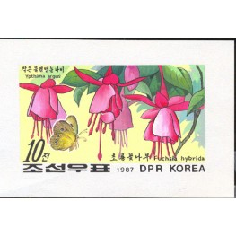 Korea DPR (North) 1987 Flower Butterfy 10w B Signed Artist Stamps Works Size: 200/140mm  KP Post Archive mark