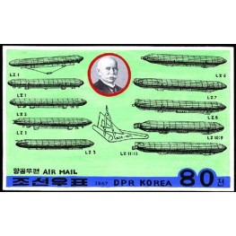 Korea DPR (North) 1987 Zeppelin Phil.Exh. 80W Signed Artist Stamps Works Size:189/119mm KP Post Archive Mark