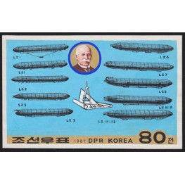 Korea DPR (North) 1987 Zeppelin Phil.Exh.B 80W. Signed Artist Stamps Works. Size: 199/126mm KP Post Archive Mark