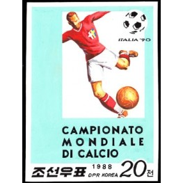 Korea DPR (North) 1988 World Cup ITALIA football 20j A Signed Artist Stamps Works Size:111/156mm KP Post Archive Mark