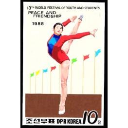 Korea DPR (North) 1988 Womens´ sports gymnastics 10j Signed Artist Stamps Works Size:111/151mm  KP Post Archive mark