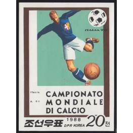Korea DPR (North) 1988 World Cup ITALIA football 20j B Signed Artist Stamps Works Size:114/154mm KP Post Archive Mark