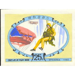 Korea DPR (North) 1989 Parachuting 25w Signed Artist Stamps Works Size: 190/130mm  KP Post Archive mark
