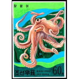 Korea DPR (North) 1999. Long tailed Octapus  60w. Signed Artist Stamps Works. Size: 111/149mm  KP Post Archive mark